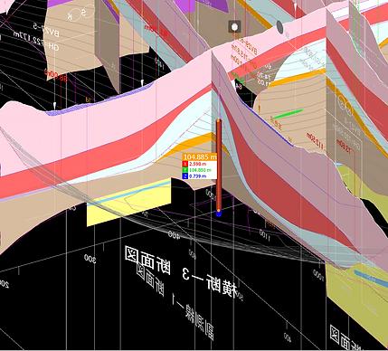 図3 すべり面の3次元地質モデル (調査後)