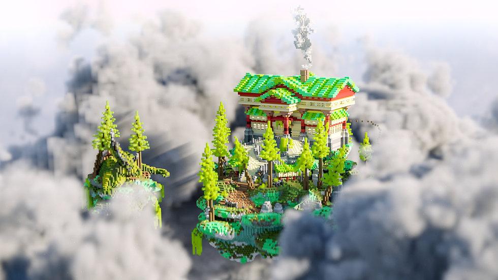 Emerald Cabin Skyblock Spawn