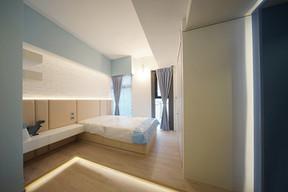 布藝窗簾-雙人睡房開啟效果 | Hometown Design