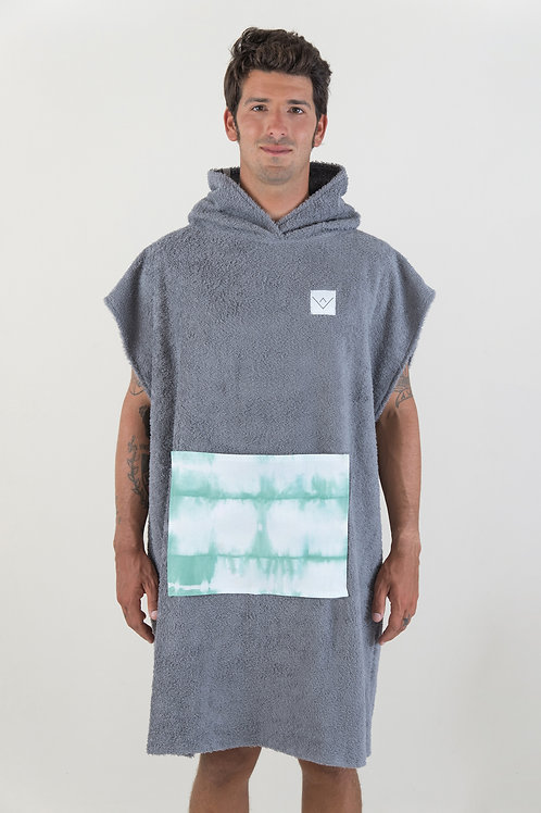 SURF PONCHO - darkgrey | green