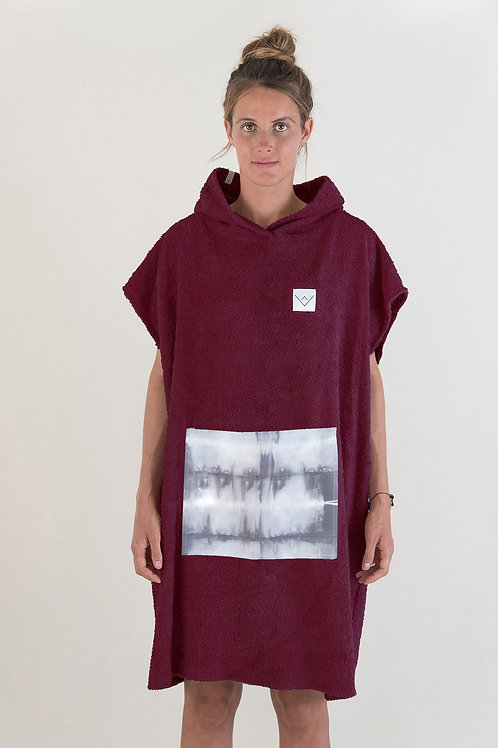 SURF PONCHO - bordeaux | grey