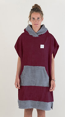 SURF PONCHO two tone - bordeaux | darkgrey