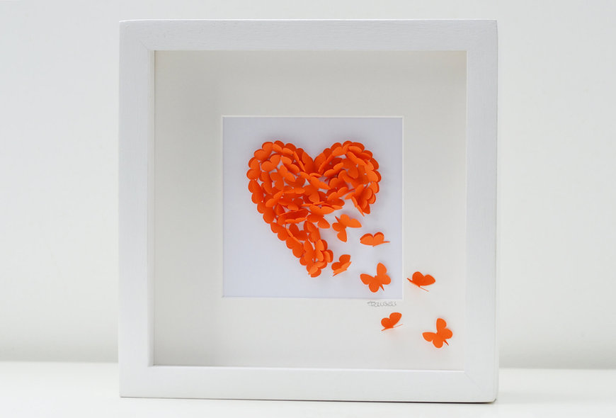 Framed 3D Orange Butterfly Heart