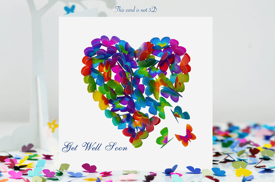 Get Well Soon Multi-coloured Butterfly Heart Card
