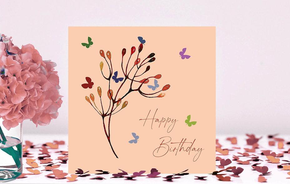 Butterfly Stem Happy Birthday Card -  peach background