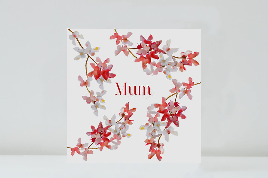 Cherry Blossom Mum Card, Mum Butterfly Birthday Card
