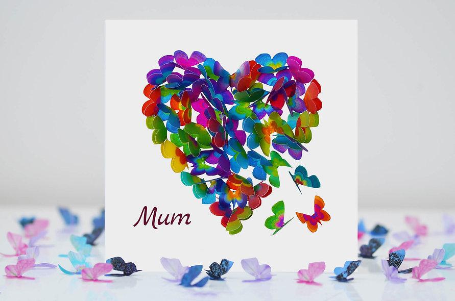 Mum Butterfly Heart Card