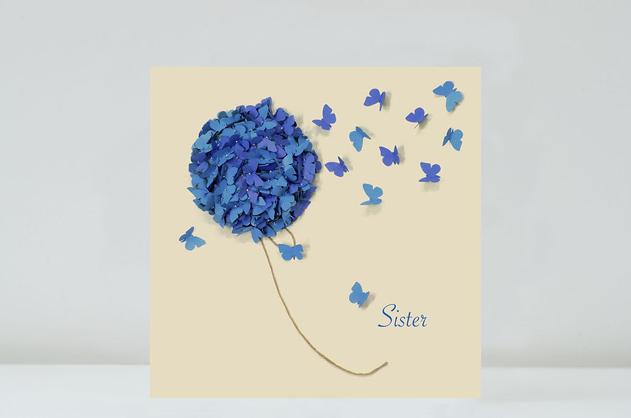 Butterfly Blue Hydrangea Sister Card Sister Birthday Card
