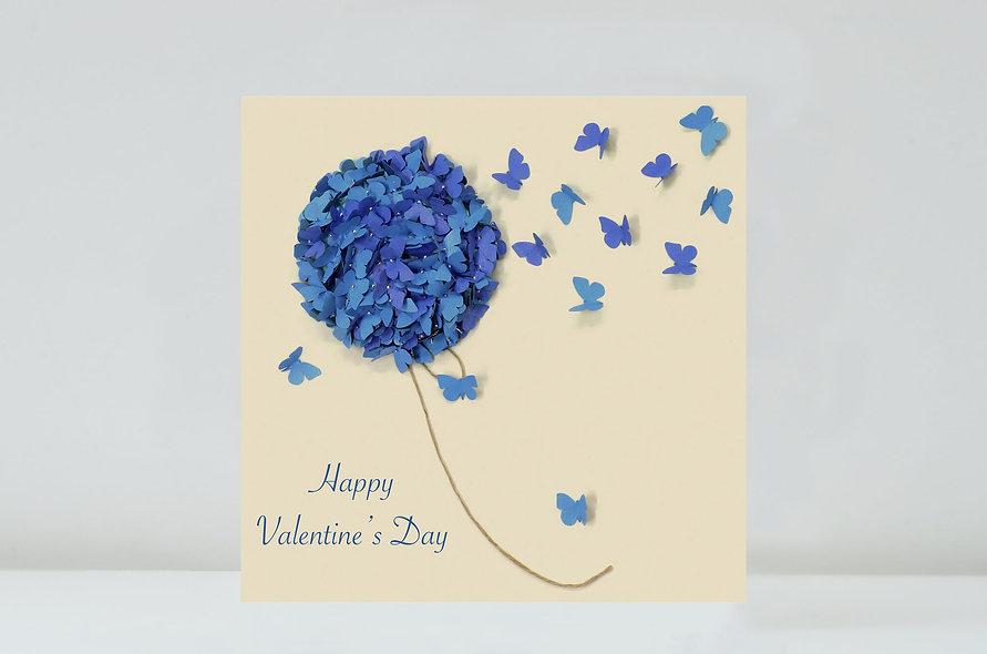 Hydrangea - Valentine's Butterfly Flower Card