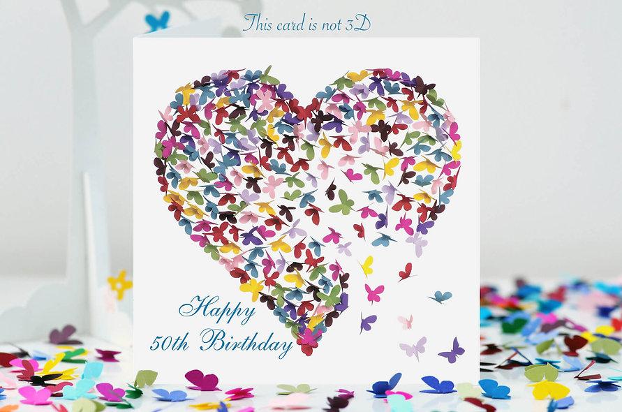 50th Birthday Heart Card