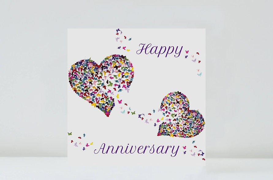 Butterfly Two Hearts Anniversary Card