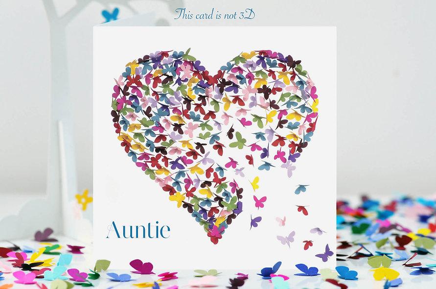 Auntie Butterfly Heart Card