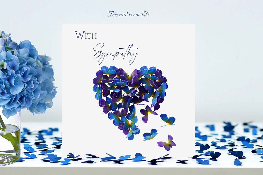 With Sympathy  Butterfly Heart Card in Forget Me Not flower colours