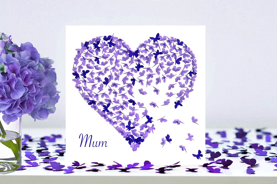 Two Tone Purple Mum Heart Card