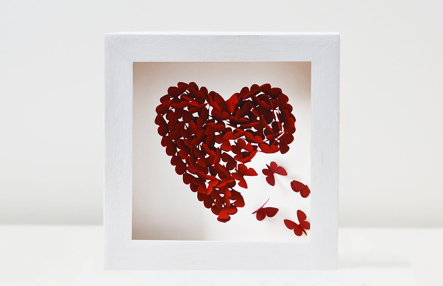 Ruby Red Heart Framed Print with four 3D butterflies