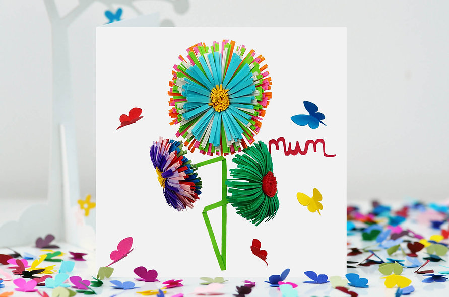 Mum Daisy Card, Butterfly Mum Birthday card