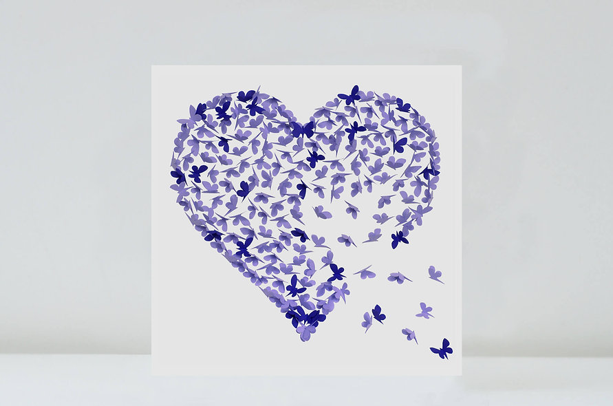 50 Purple Butterfly Heart Cards for Amanda