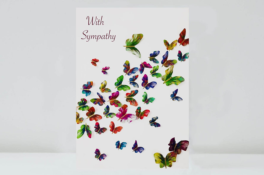 With Sympathy Butterflies Card, Butterfly With Sympathy Card