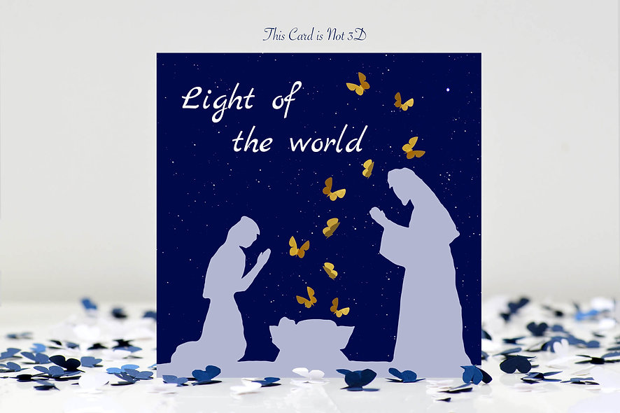 Christmas Light Of The World Butterfly Card