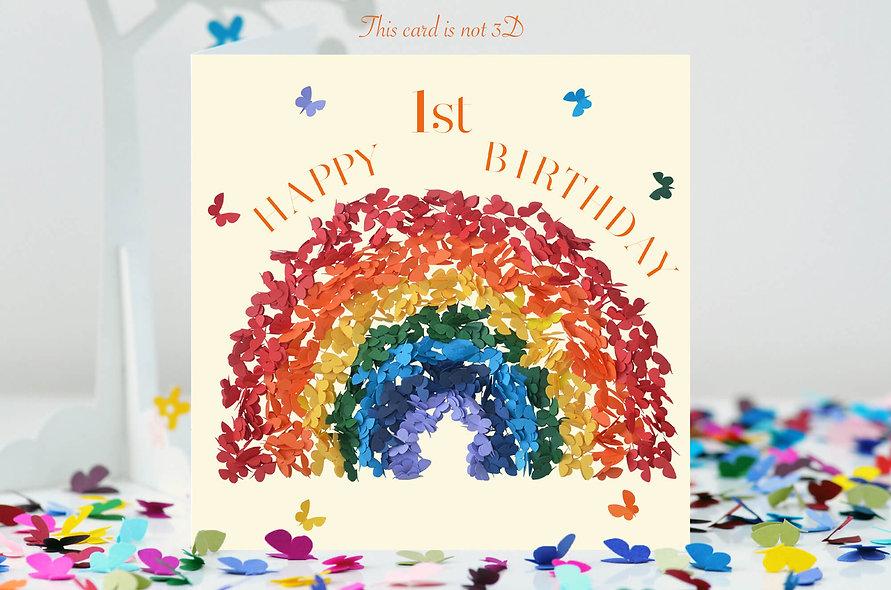 1st Birthday Rainbow Butterfly Card