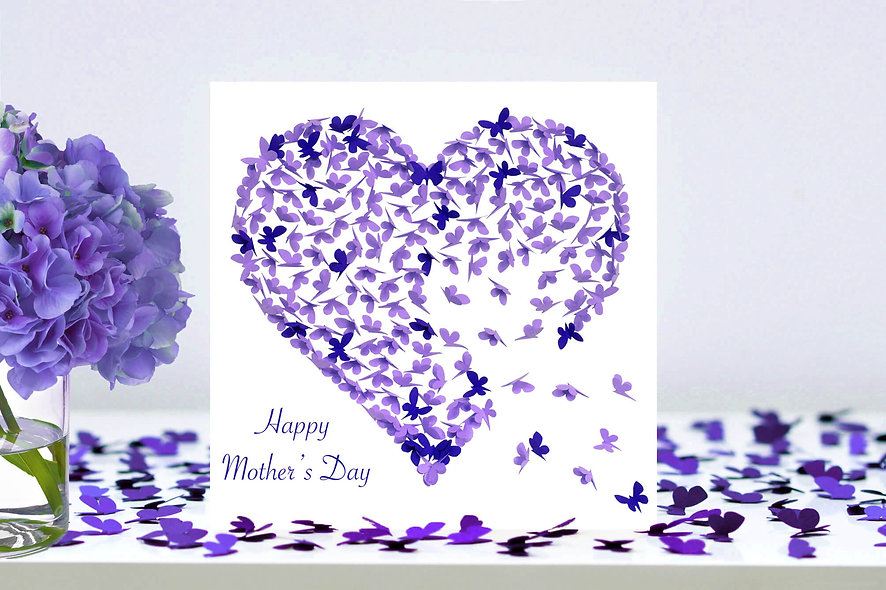 Two Tone Purple Mother's Day Heart Card