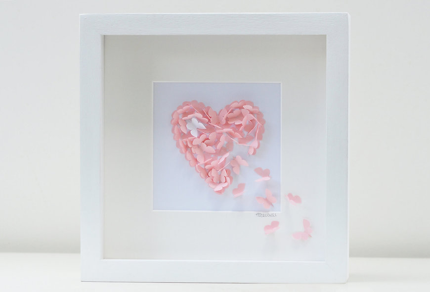 3D Framed Baby Pink Heart with single white accent butterfly