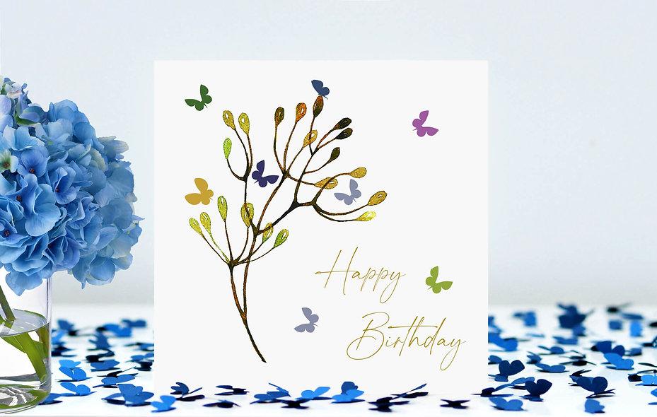 Butterfly Stem Happy Birthday Card - white background