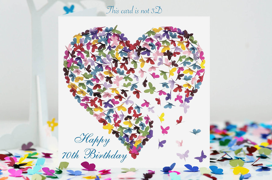 70th Birthday Heart Card