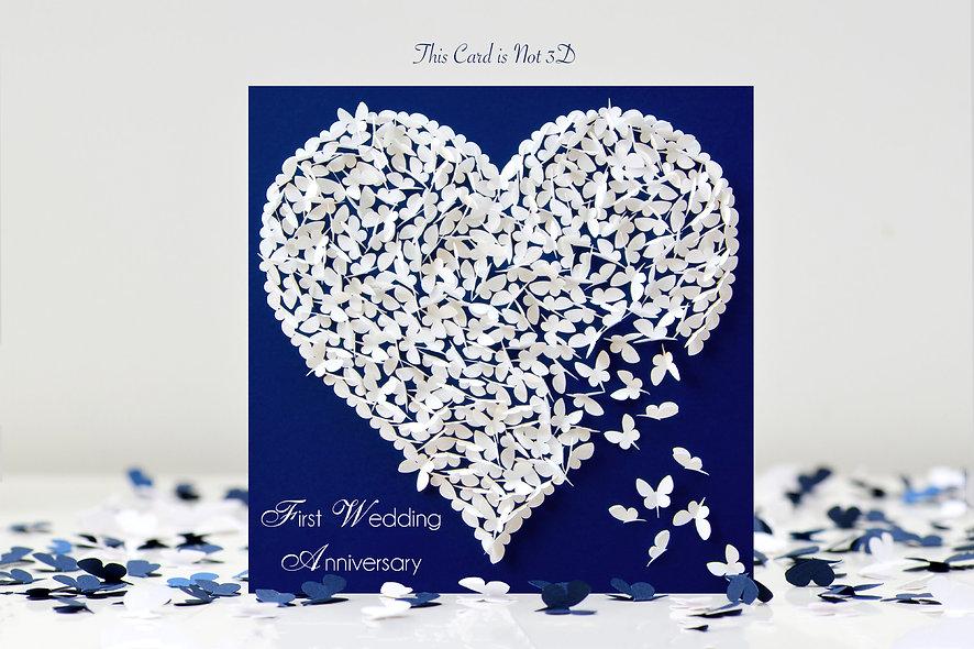 First Wedding Anniversary Butterfly Heart Card