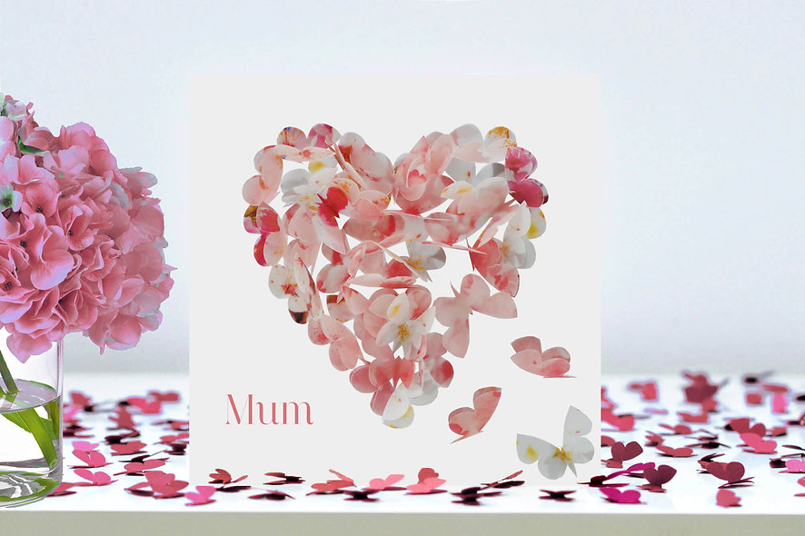 Mum Cherry Blossom Butterfly Heart