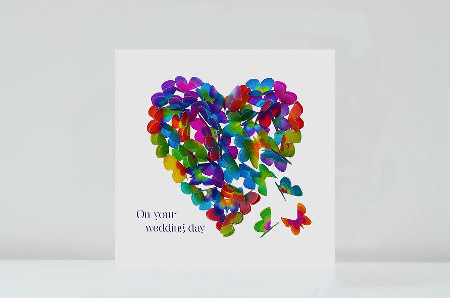 Multicoloured Butterfly Wedding Card, Wedding Heart Card