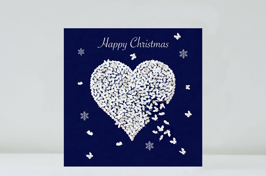 Butterfly Snow White Heart Christmas Card, Christmas Love Card