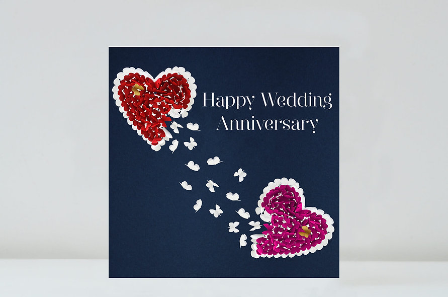 Two Hearts Butterfly Anniversary Card