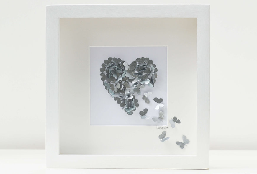 Framed 3D Handpainted Silver Butterfly Heart (can be personalised)