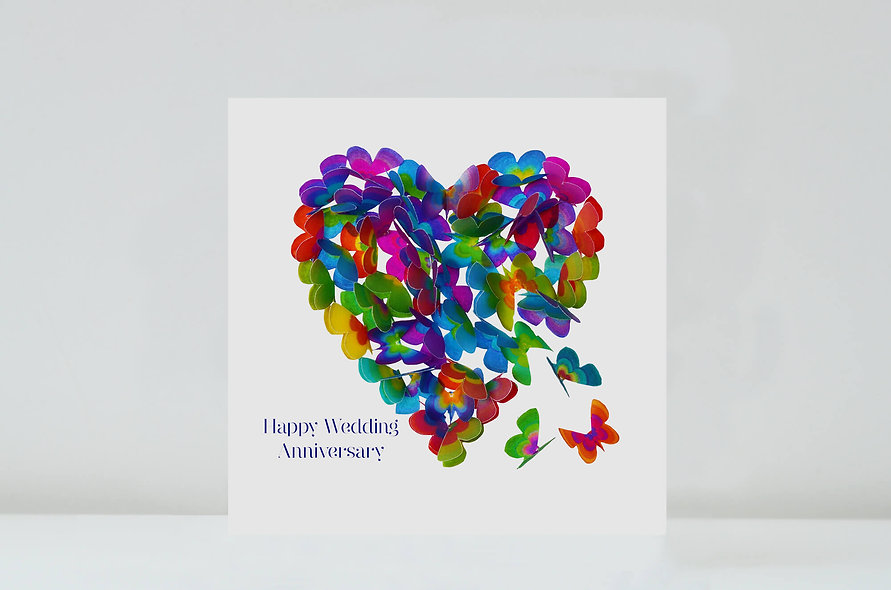 Multicoloured Wedding Anniversary Butterfly Card