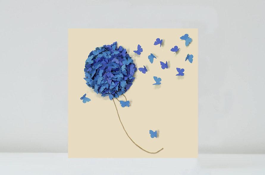 Blue Hydrangea Butterfly Card