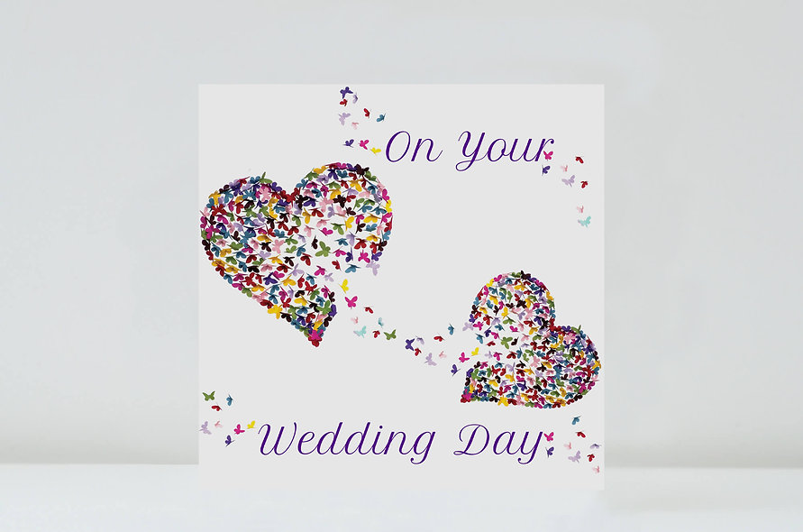 Two Hearts Butterfly Wedding Card
