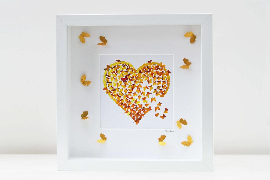 Framed Golden Wedding  Anniversary Heart Print with 3D butterflies on mount