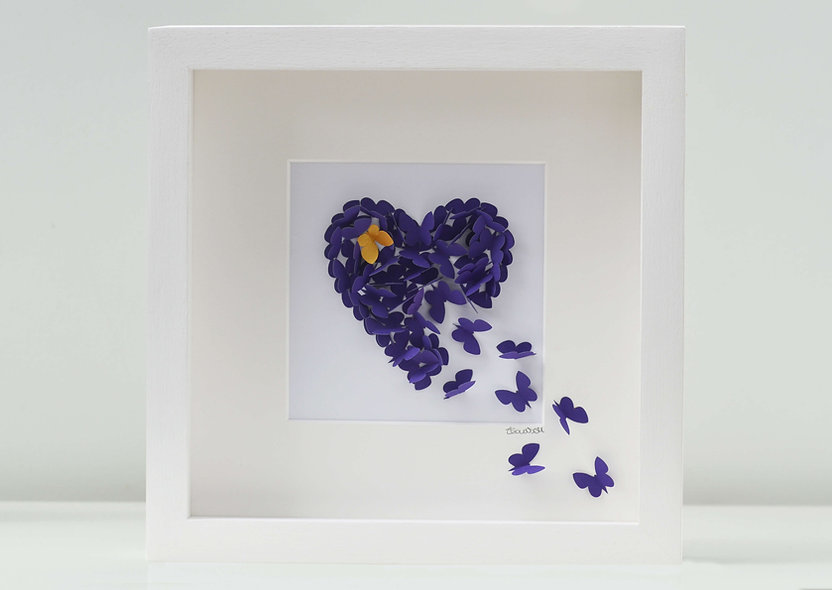 Framed 3D Purple Butterfly Heart with Gold Accent Butterfly