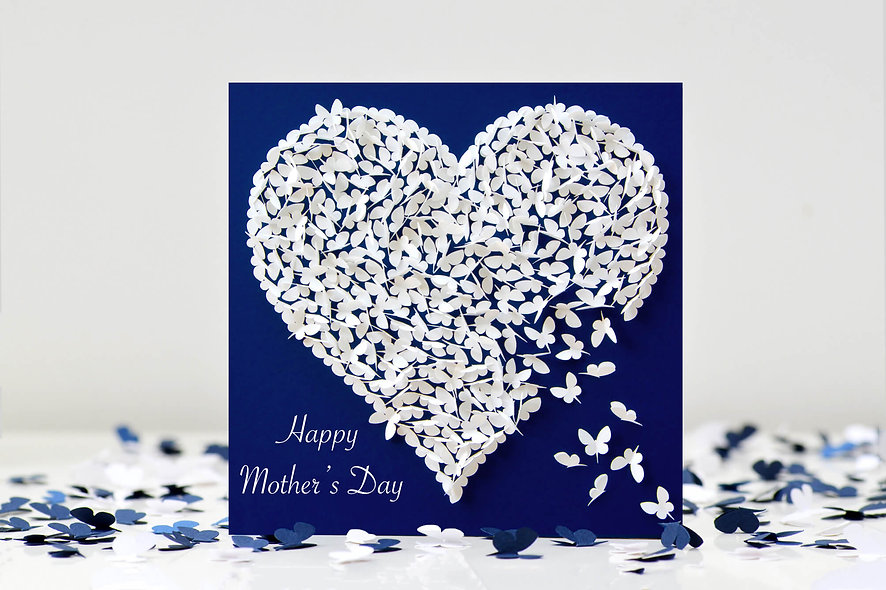 Mother's Day White Butterfly Heart Mum Card