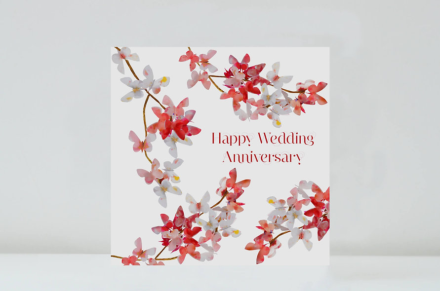 Butterfly Cherry Blossom Wedding Anniversary Card