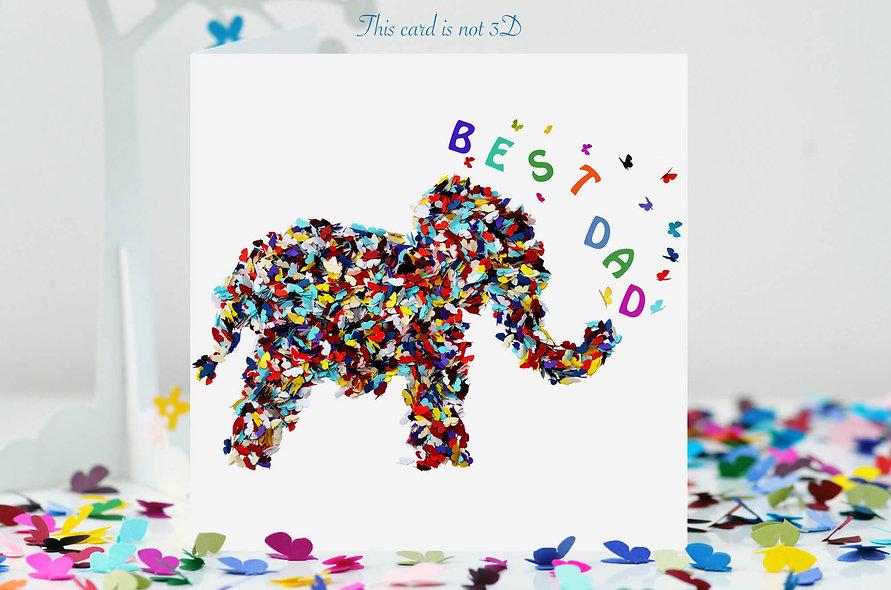Best Dad Elephant Butterfly Card