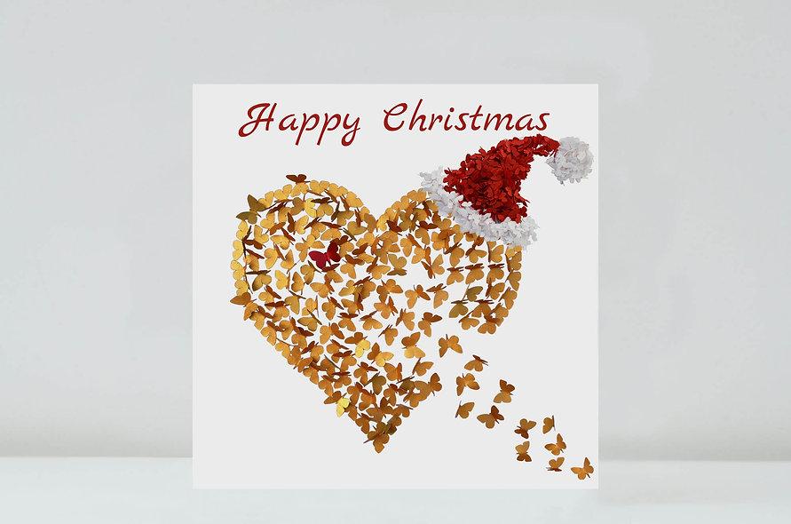 Butterfly Gold Heart Christmas Card, Christmas Love Card