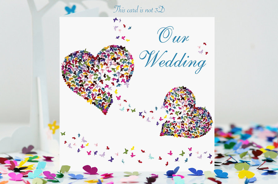Two Hearts  Butterfly Wedding Invite (personalised with event minimum order 20)