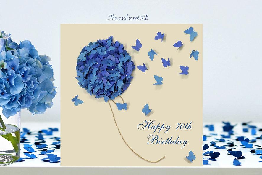 70th Hydrangea Butterfly Birthday Card