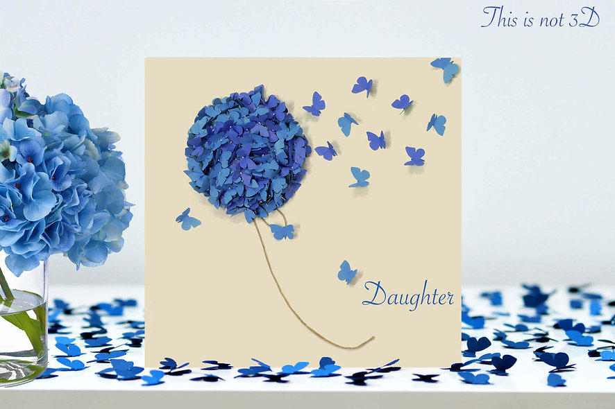 Daughter Hydrangea Butterfly  Card