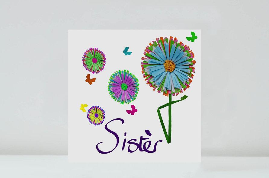 Daisy Sister Card, Sister Flower Butterfly Card