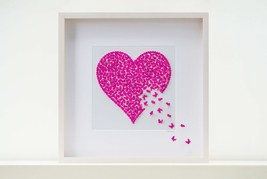 Shocking Pink Butterfly Heart (50x50cm)