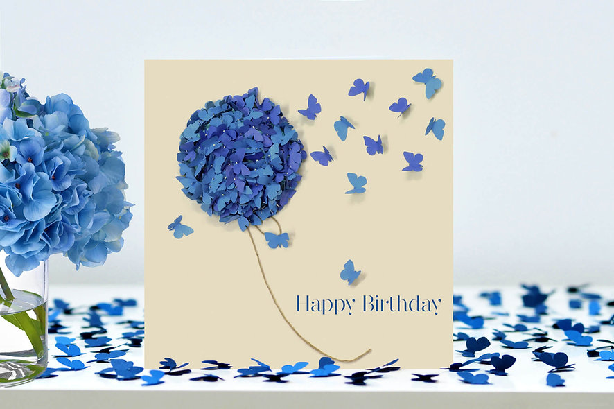 Blue Hydrangea Butterfly Birthday Card, Flower Birthday Card