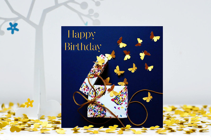 Birthday Present Butterfly Birthday Card